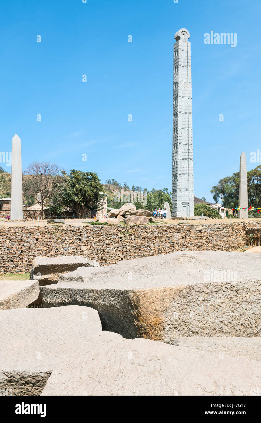 Ethiopia, Axum, the stelas of the archaeologica site - Stock Image
