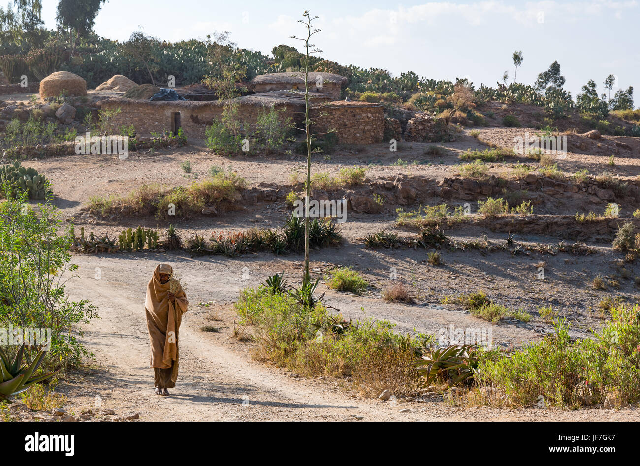 Ethiopia, Adigrat, farmer houses in the outskirts of the village - Stock Image