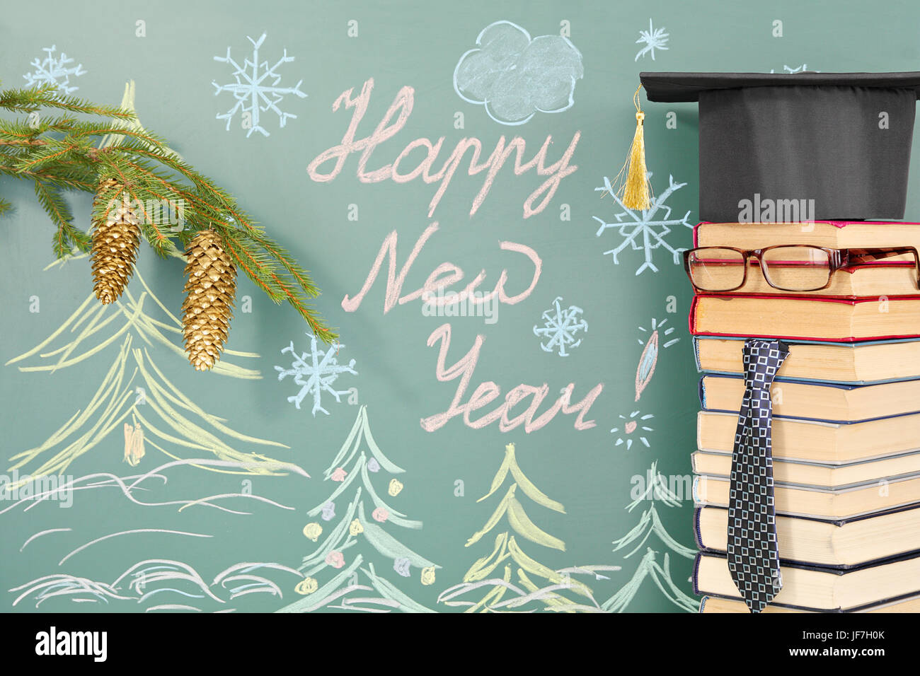 unusual teacher from books before blackboard with title happy new year