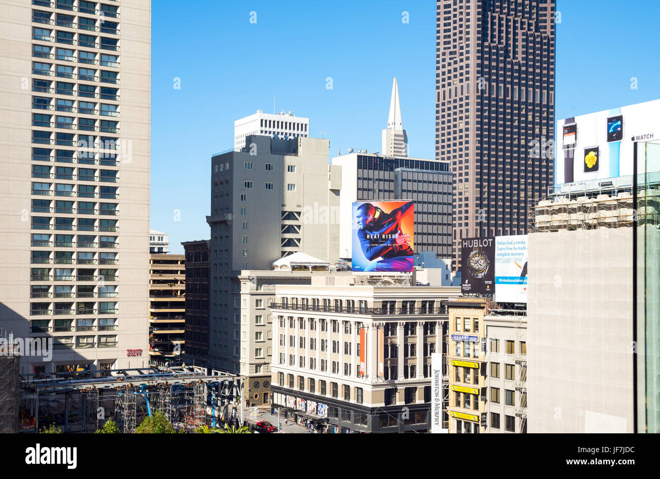 San Francisco, USA, The architectures and billboards of Union Square - Stock Image