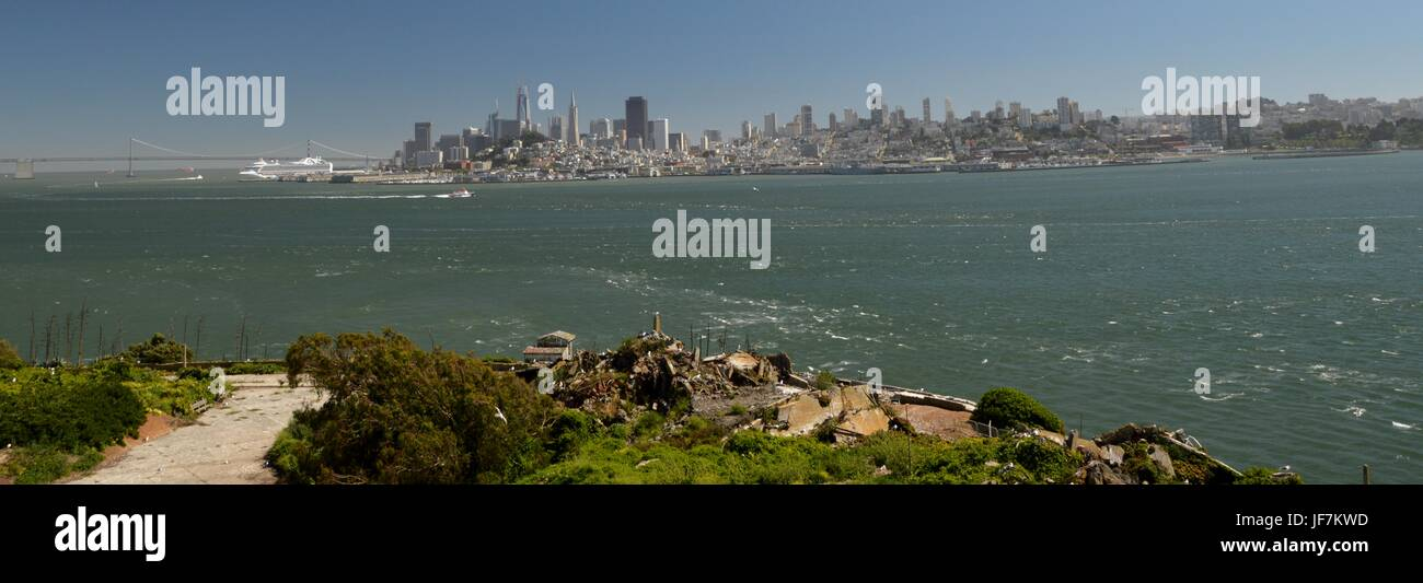 View of San Francisco from Alcatraz Island on May 1, 2017, California USA - Stock Image