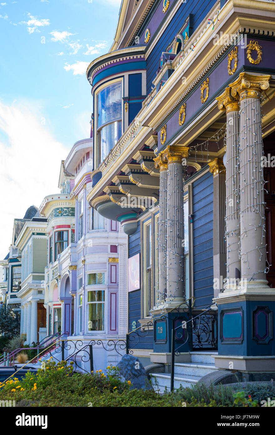 San Francisco, California, the colored traditional houses of Alamo square - Stock Image