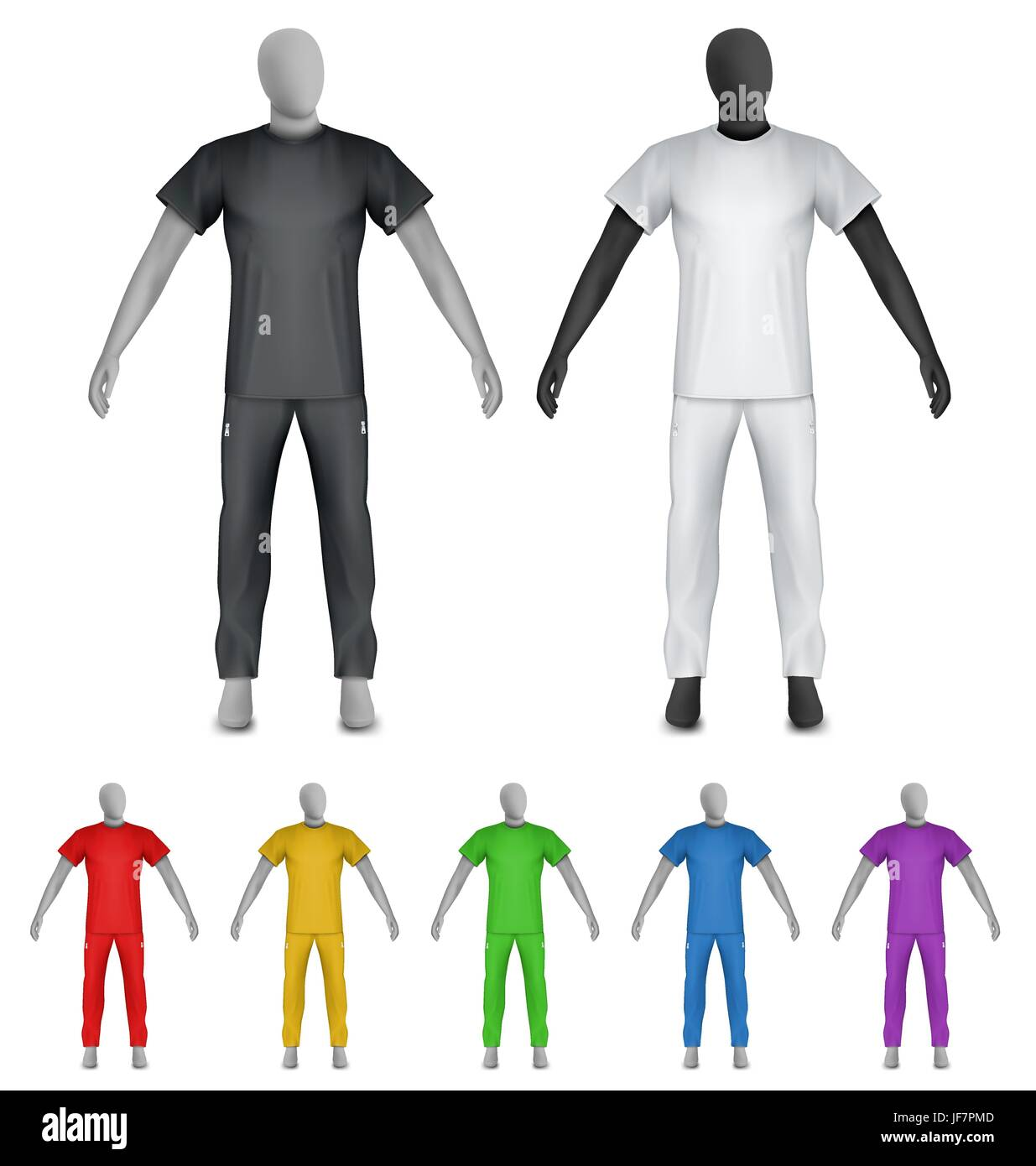 plain t shirt and sweatpants on mannequin template stock vector art