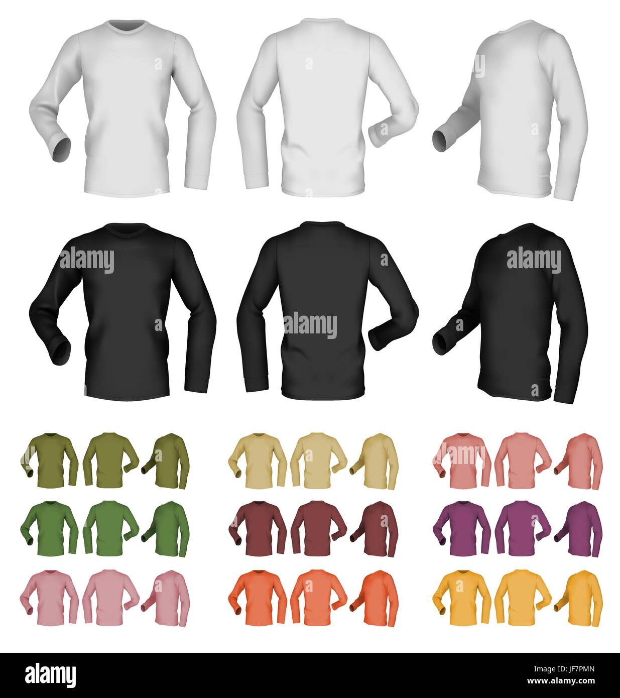 Long Sleeve Blank Male T Shirt Template Front Rear And Side View