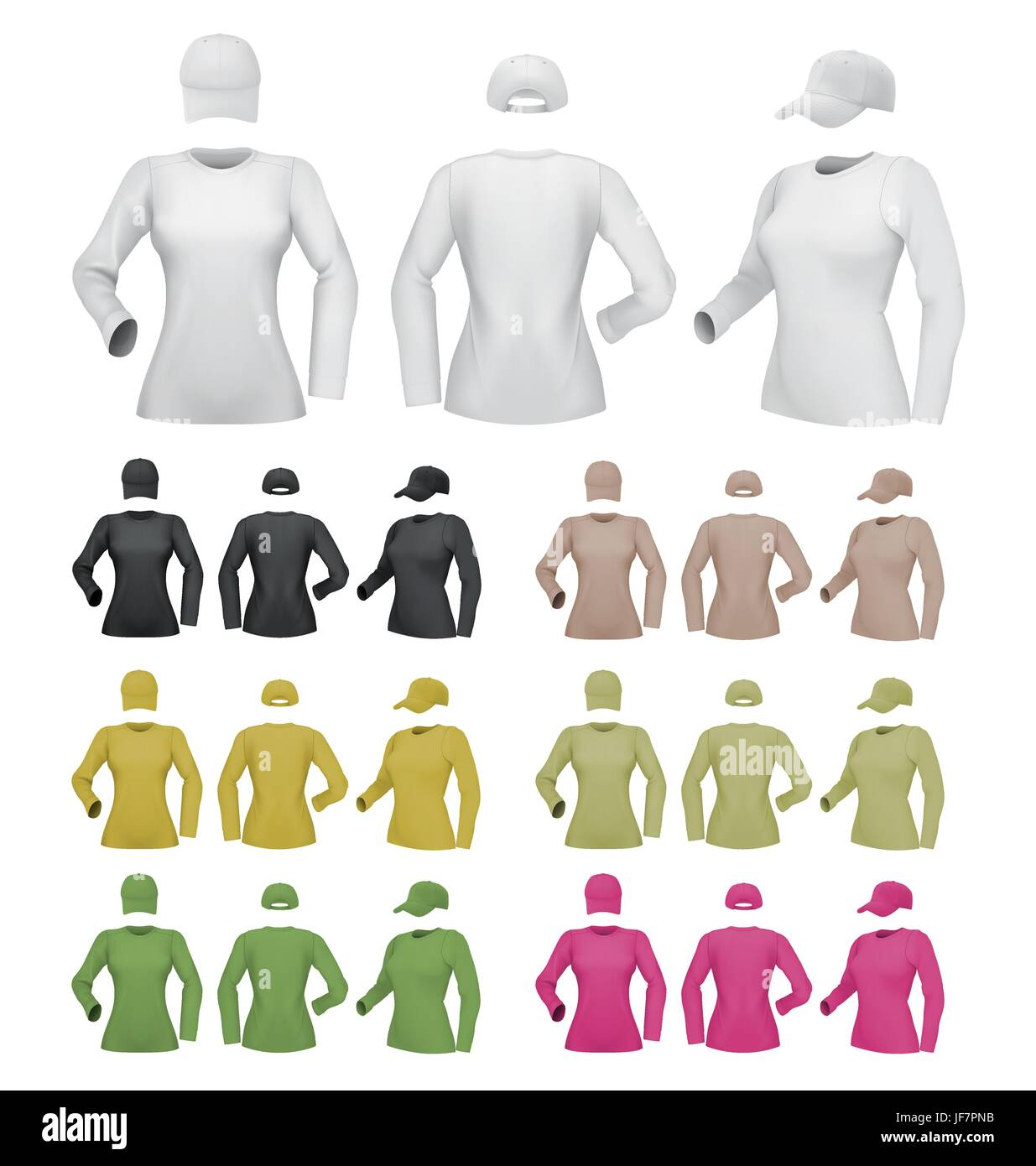 Plain Female Long Sleeve Shirt Template On White Background