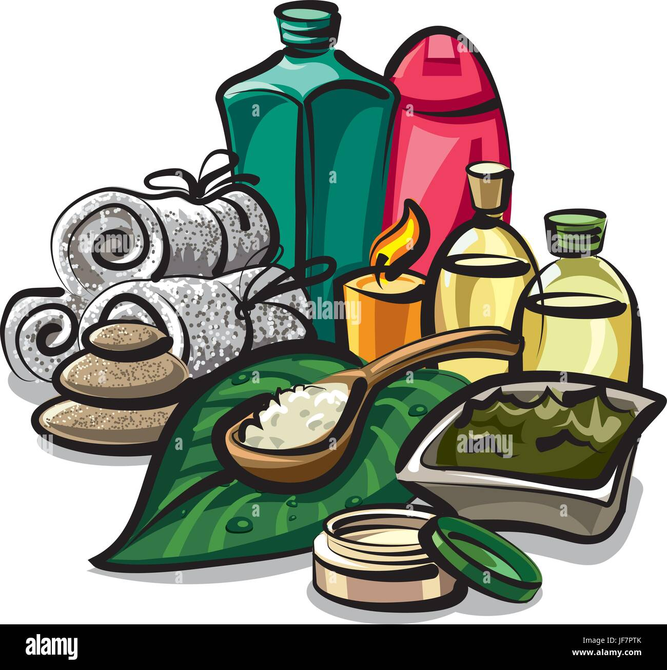 Illustration Of Collection Of Natural Spa Products For Body Care Stock Vector Image Art Alamy