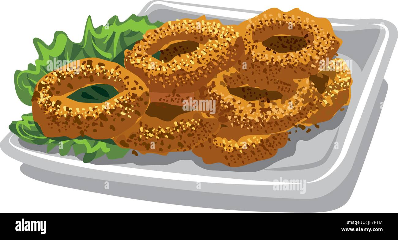 illustration of fried squid rings with lettuce on plate - Stock Vector