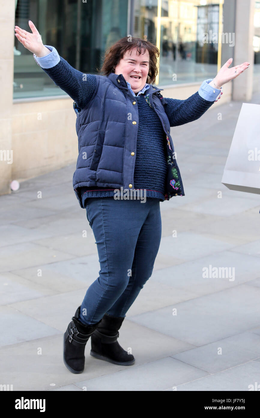 Susan Boyle seen shopping in Manchester the day before her gig at Manchester Bridgewater Hall. - Stock Image