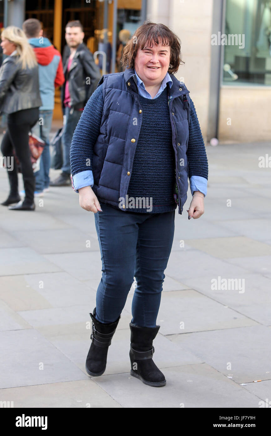 Susan Boyle seen shopping in Manchester the day before her gig at Manchester Bridgewater Hall. Stock Photo