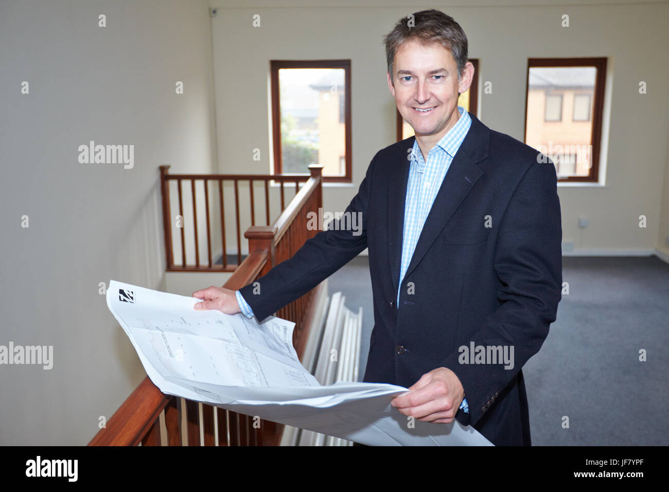 Richard Venables of property firm VSL at an office block in Lakesmere Close, Kidlington, that is to be turned into - Stock Image