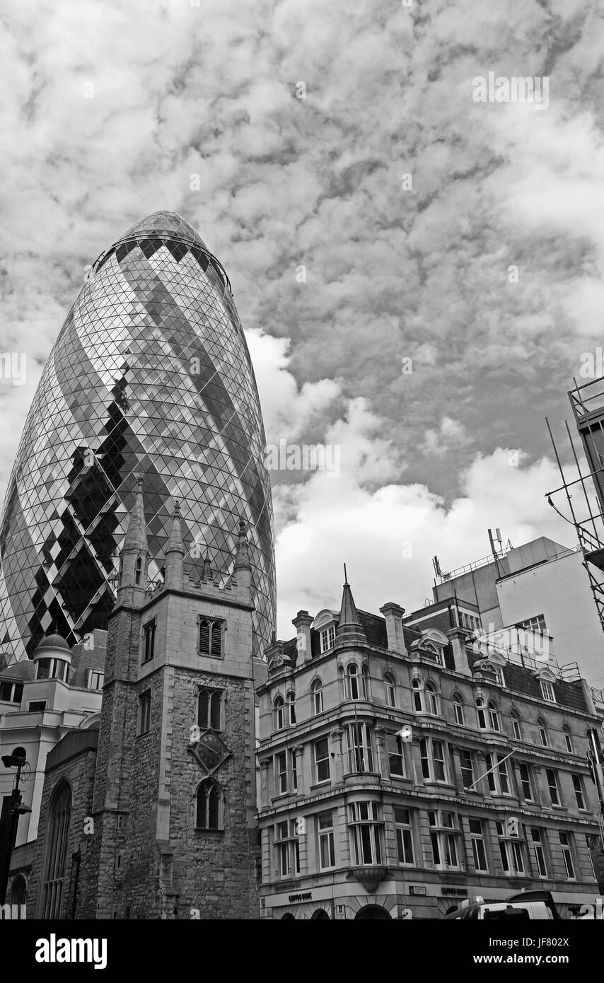 The City of London skyline in the financial sector showing The Gherkin Stock Photo