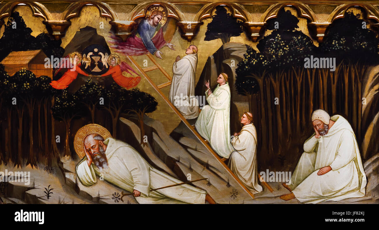 St Romuald Receveis the Rule of St Benedict, The Dream of St Romuald c 1400 Pittore Pisano Italy - Stock Image