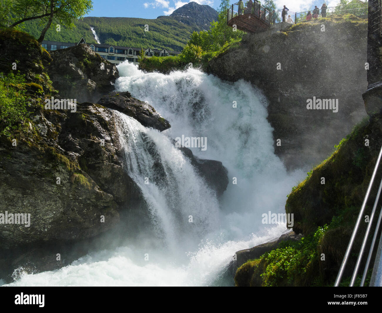 Viewpoints at waterfall on Geirangelva river in beautiful village of Geiranger Sunnmøre region of Møre - Stock Image