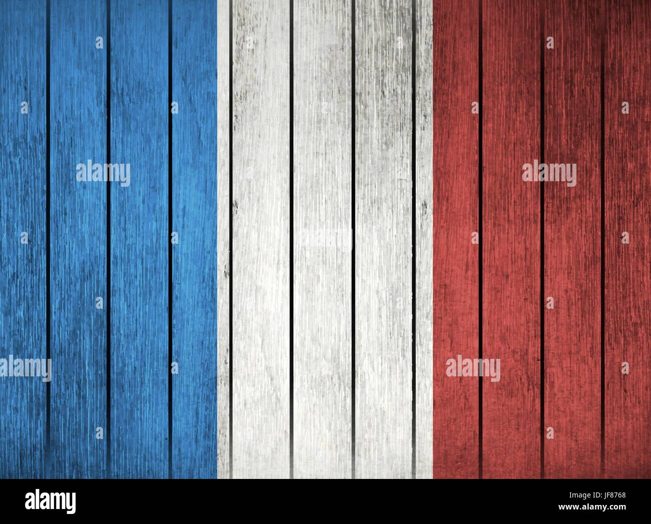 Wooden Flag Of France - Stock Image