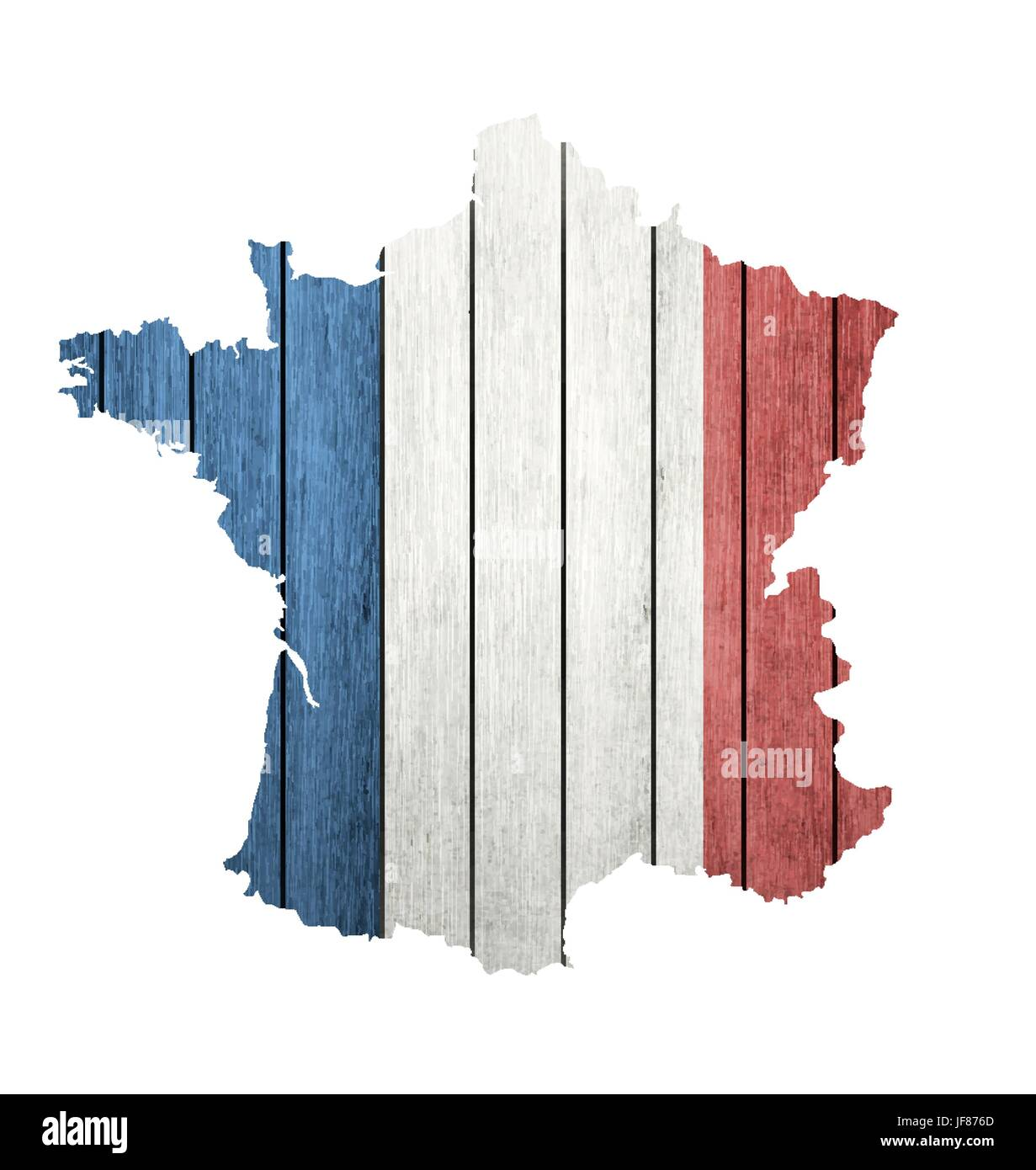 France Map With Wooden Flag - Stock Image