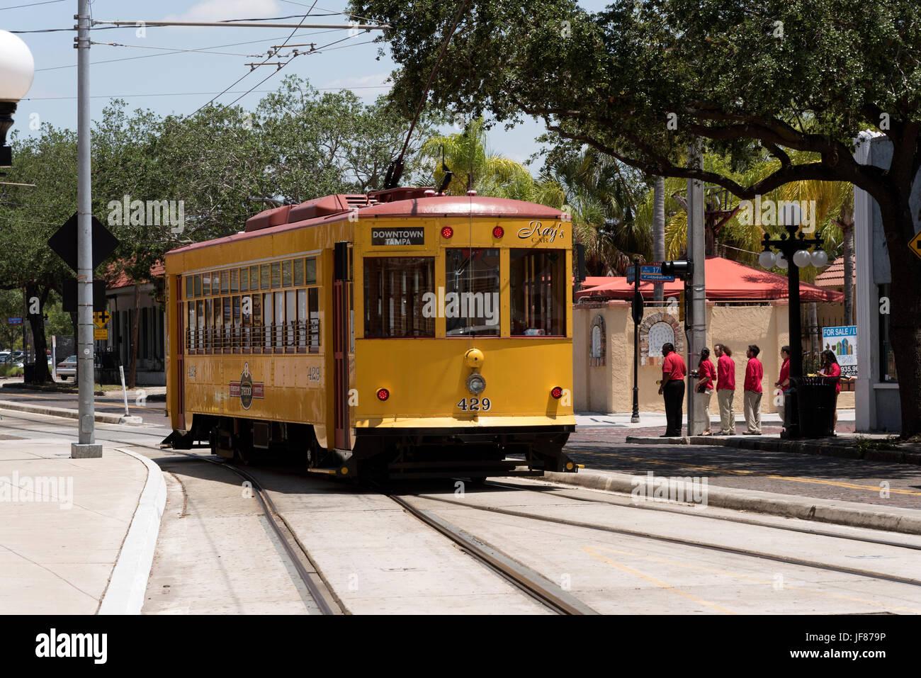 Teco Line streetcar in Ybor City the historic district of Tampa Florida USA. Circa 2017 - Stock Image
