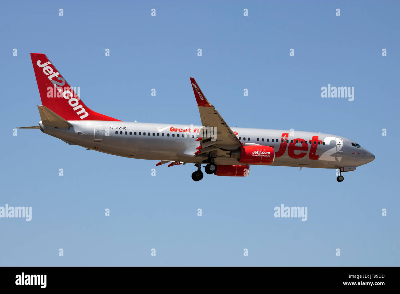 Jet2 Boeing 737-8K5 [G-JZHC] on final approach runway 31. - Stock Image