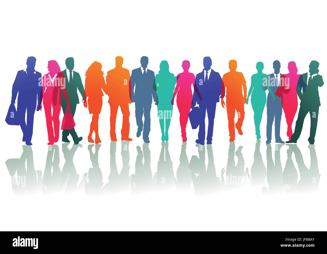 colored groups and individuals on the street - Stock Vector