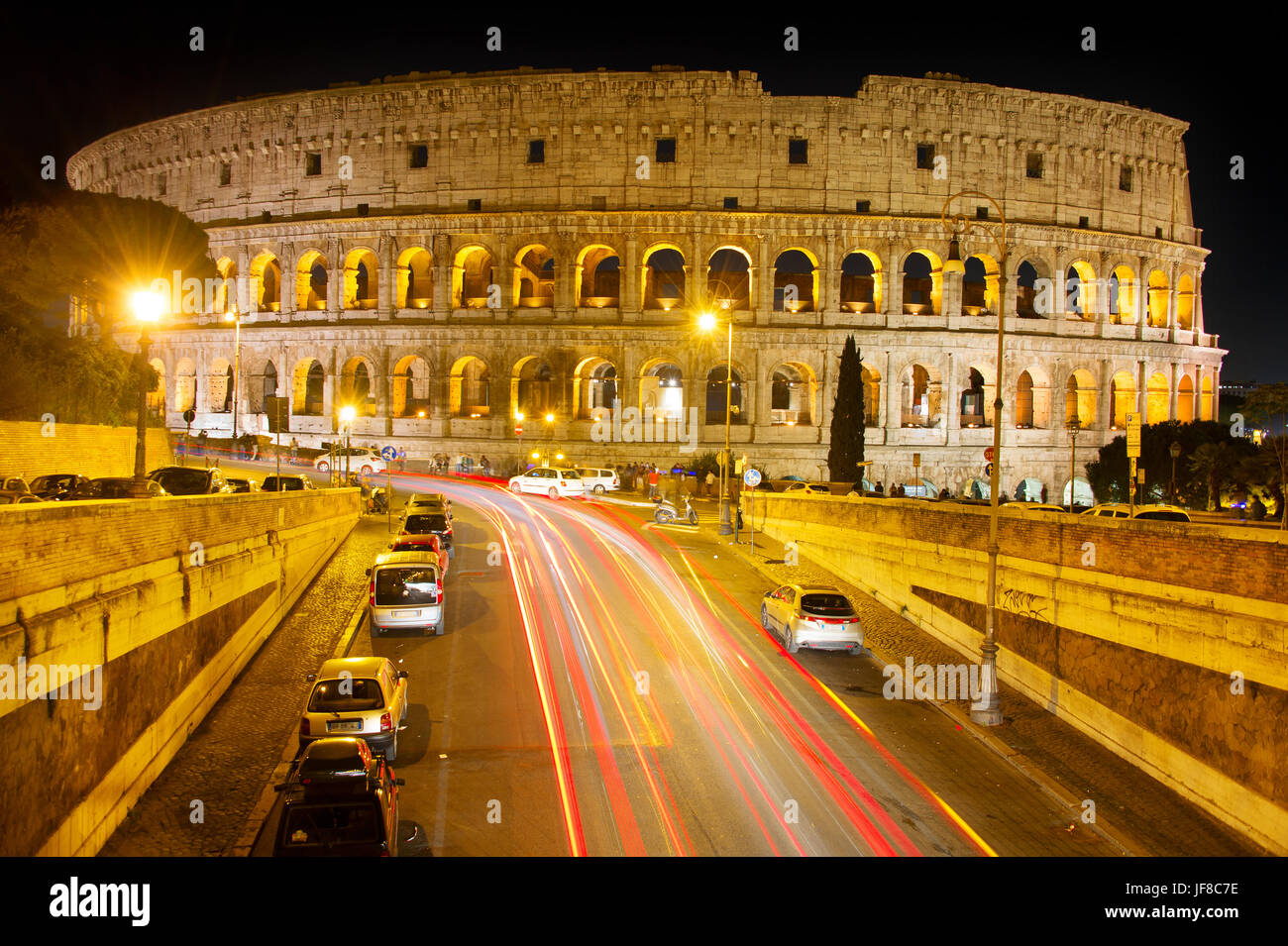 Night view of Colosseum, Rome - Stock Image