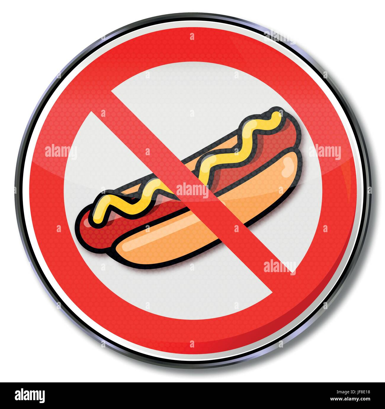 prohibition sign for hotdogs with sausage and mustard Stock Vector