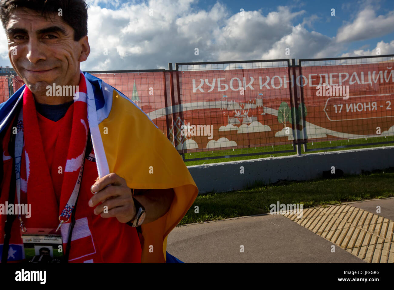 Fans of Chile's national team before start the match Chile and Australia on the 2017 FIFA Confederations Cup - Stock Image