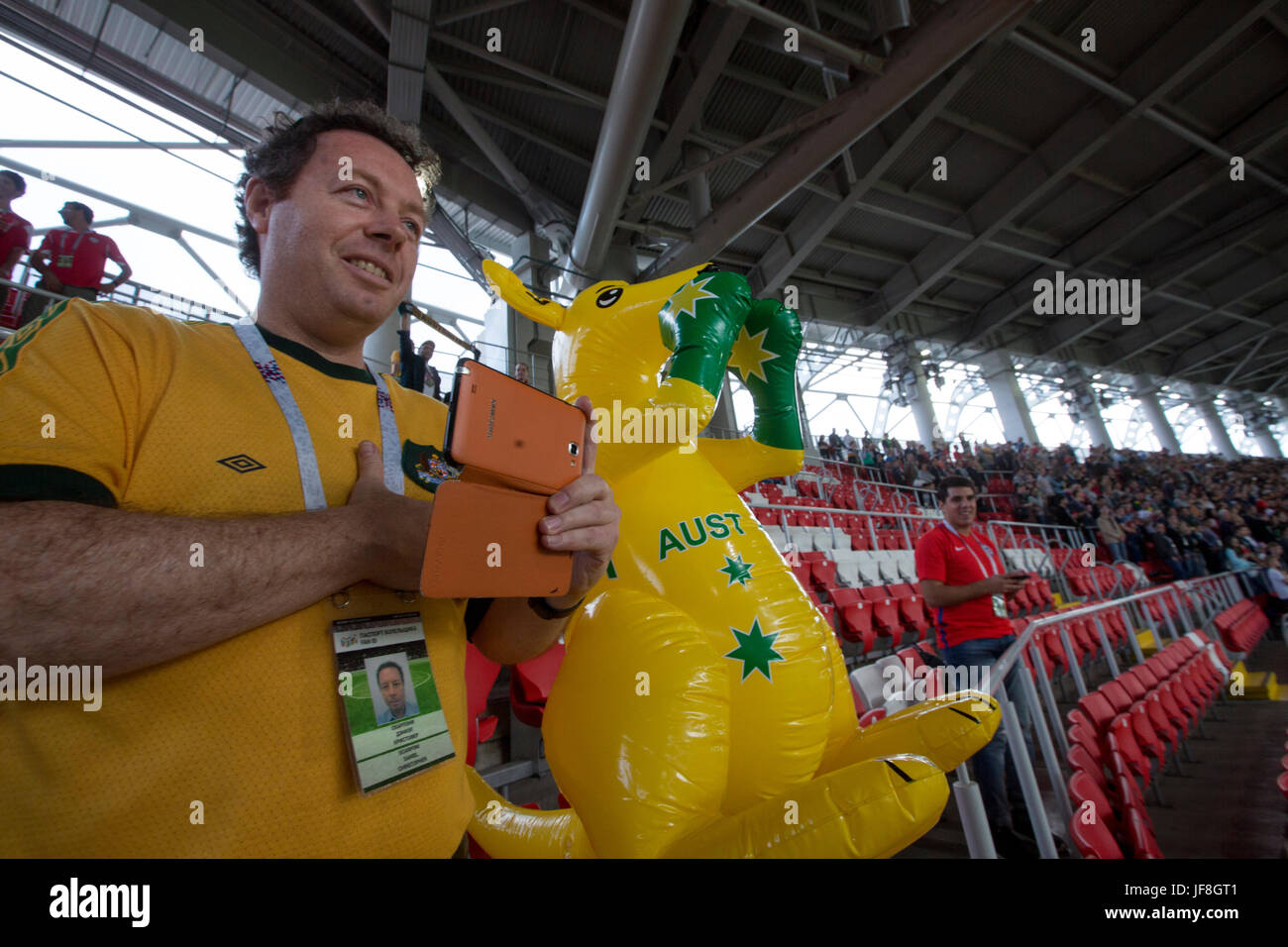 Fans of Australian national team during the match Chile and Australia on the 2017 FIFA Confederations Cup on the - Stock Image