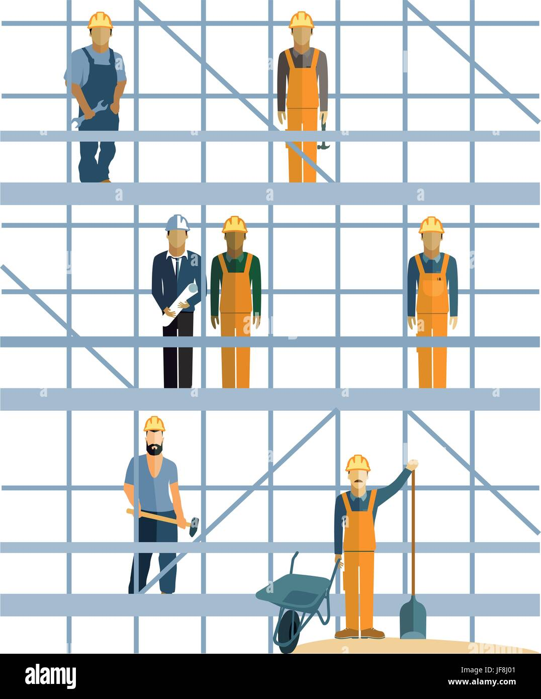 builders and scaffolding - Stock Vector