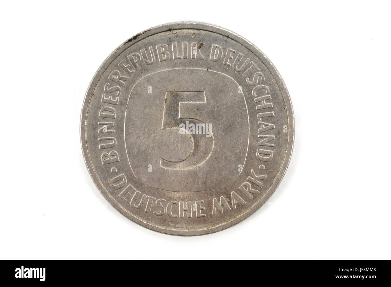 5 five Deutsche Mark Bundesrepubik Deutschland, - Stock Image