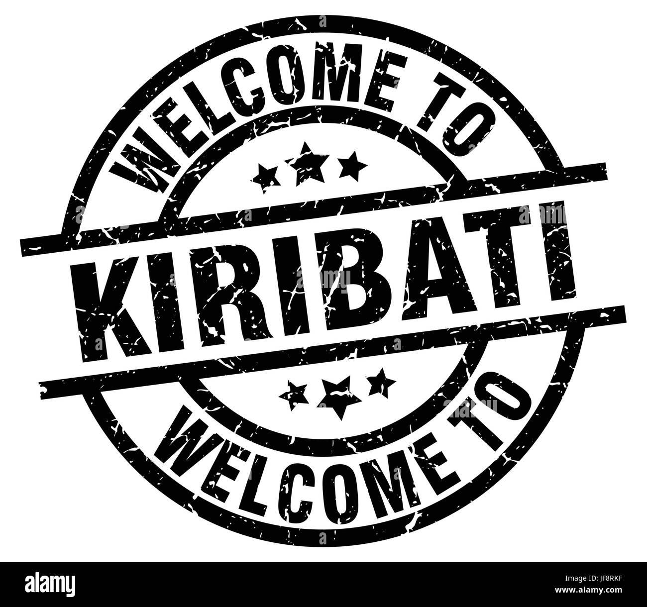 welcome to Kiribati black stamp - Stock Image