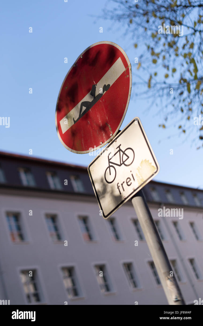 No Entry Road Sign - Stock Image