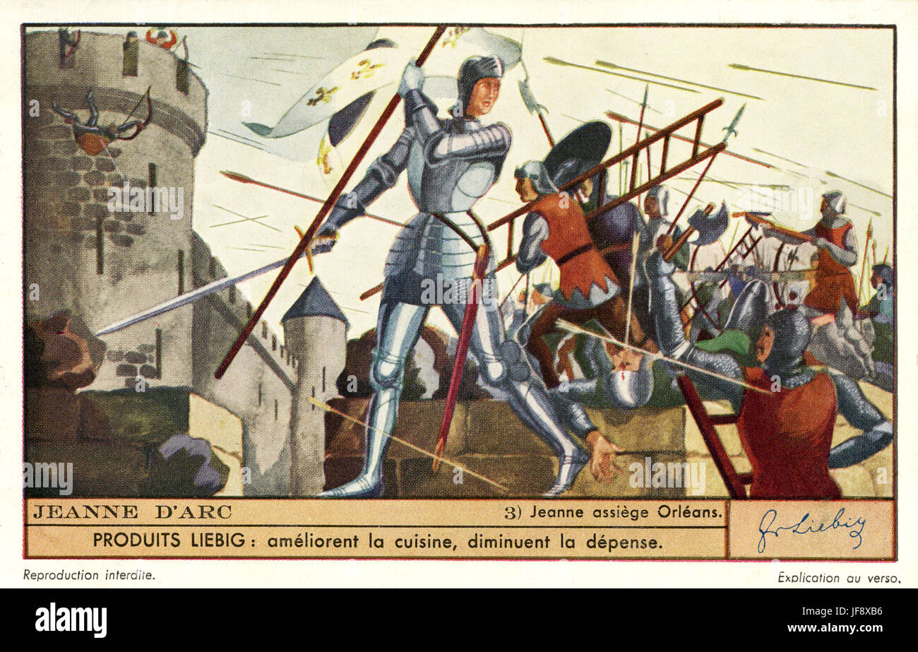 Joan of Arc / Jeanne d'Arc. Siege of Orleans (1428 - 1429). Liebig  collectors' card, 1937