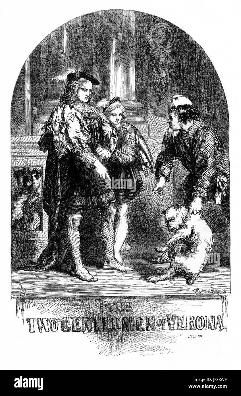Two Gentlemen of Verona, play William Shakespeare (1564 – 1616). Title page illustration by John Gilbert (1817  - Stock Image