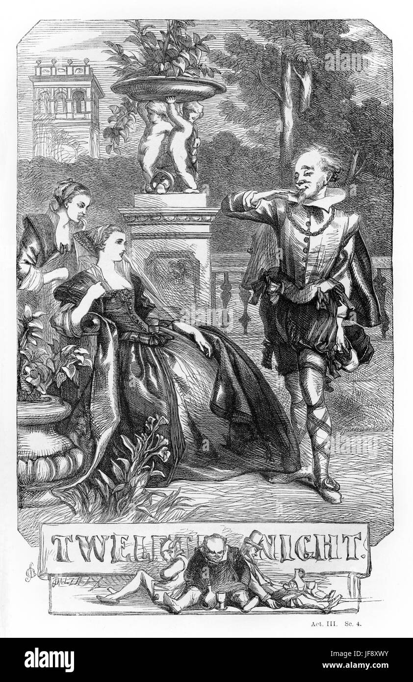 Twelfth Night, play William Shakespeare (1564 – 1616). Title page illustration by John Gilbert (1817 - 1897). - Stock Image
