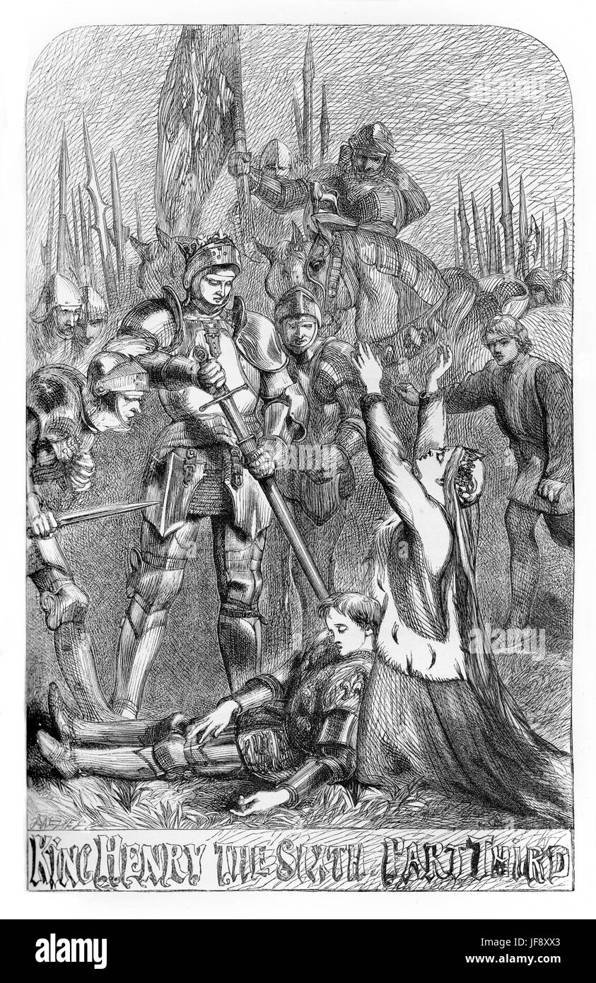 King Henry the Sixth part 3, play William Shakespeare (1564 – 1616). Title page illustration by John Gilbert (1817 - Stock Image