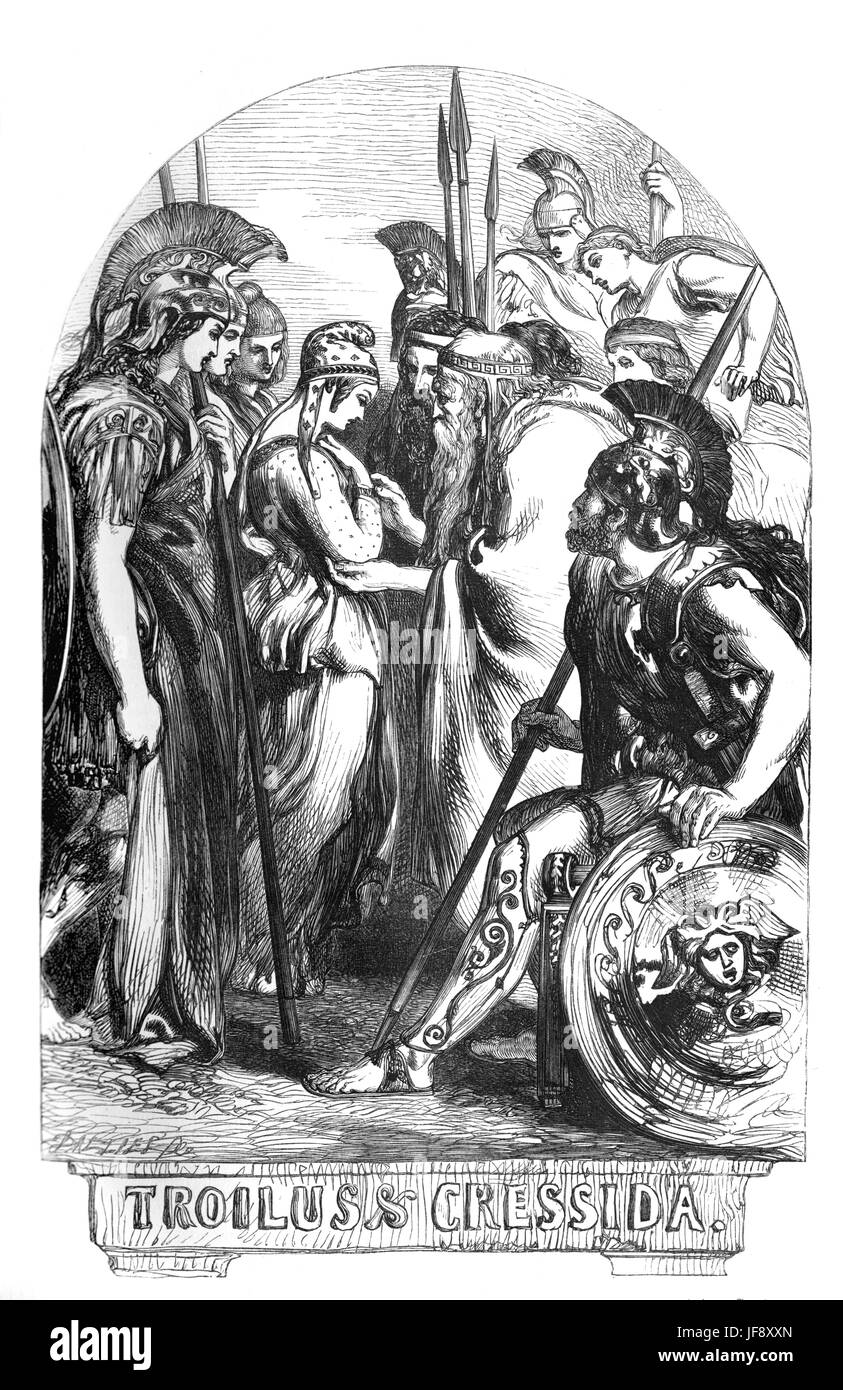 Troilus and Cressida, play William Shakespeare (1564 – 1616). Title page illustration by John Gilbert (1817 - 1897). - Stock Image