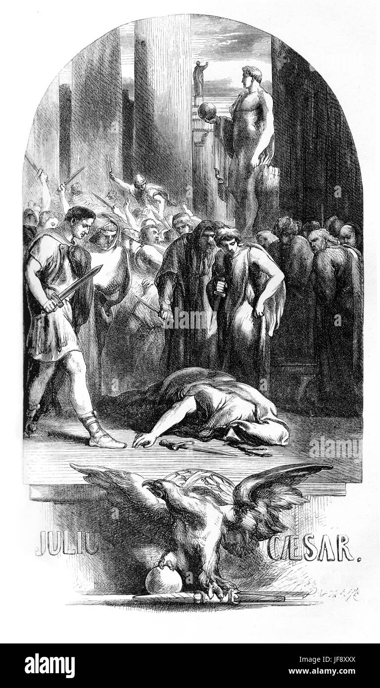 Julius Caesar, play William Shakespeare (1564 – 1616). Title page illustration by John Gilbert (1817 - 1897). - Stock Image