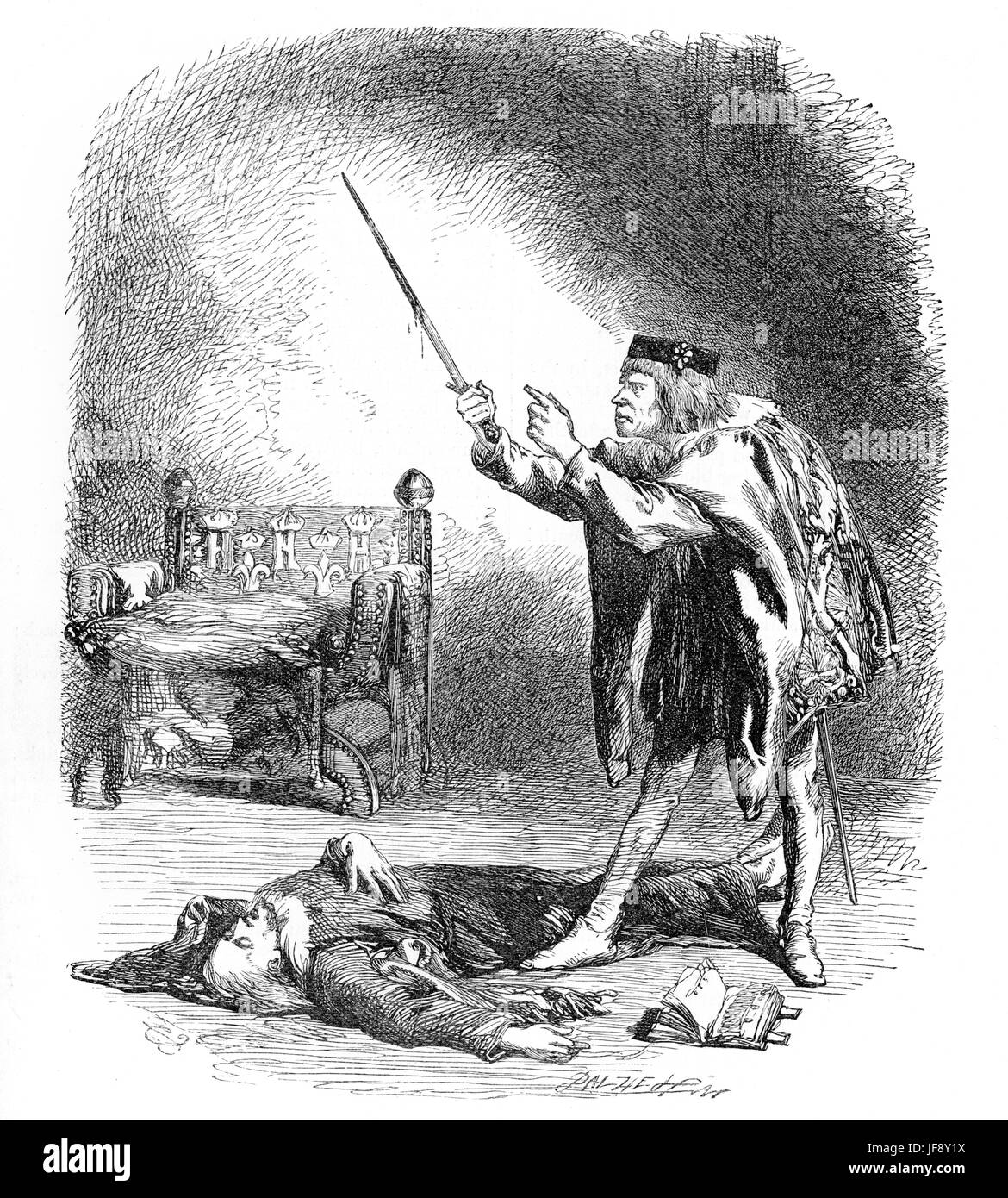 Henry VI part III, play by William Shakespeare (26 April 1564 – 23 April 1616). Act 5 scene 6, Gloucester murders - Stock Image