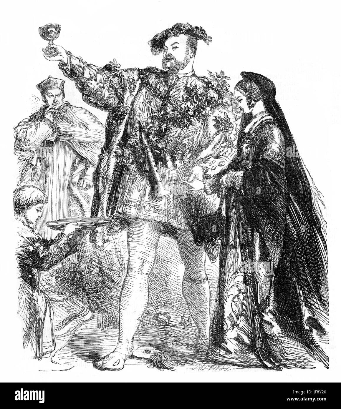 Henry VIII, play by William Shakespeare (26 April 1564 – 23 April 1616). Act 1 scene 4, King Henry and Anne Boleyn. - Stock Image