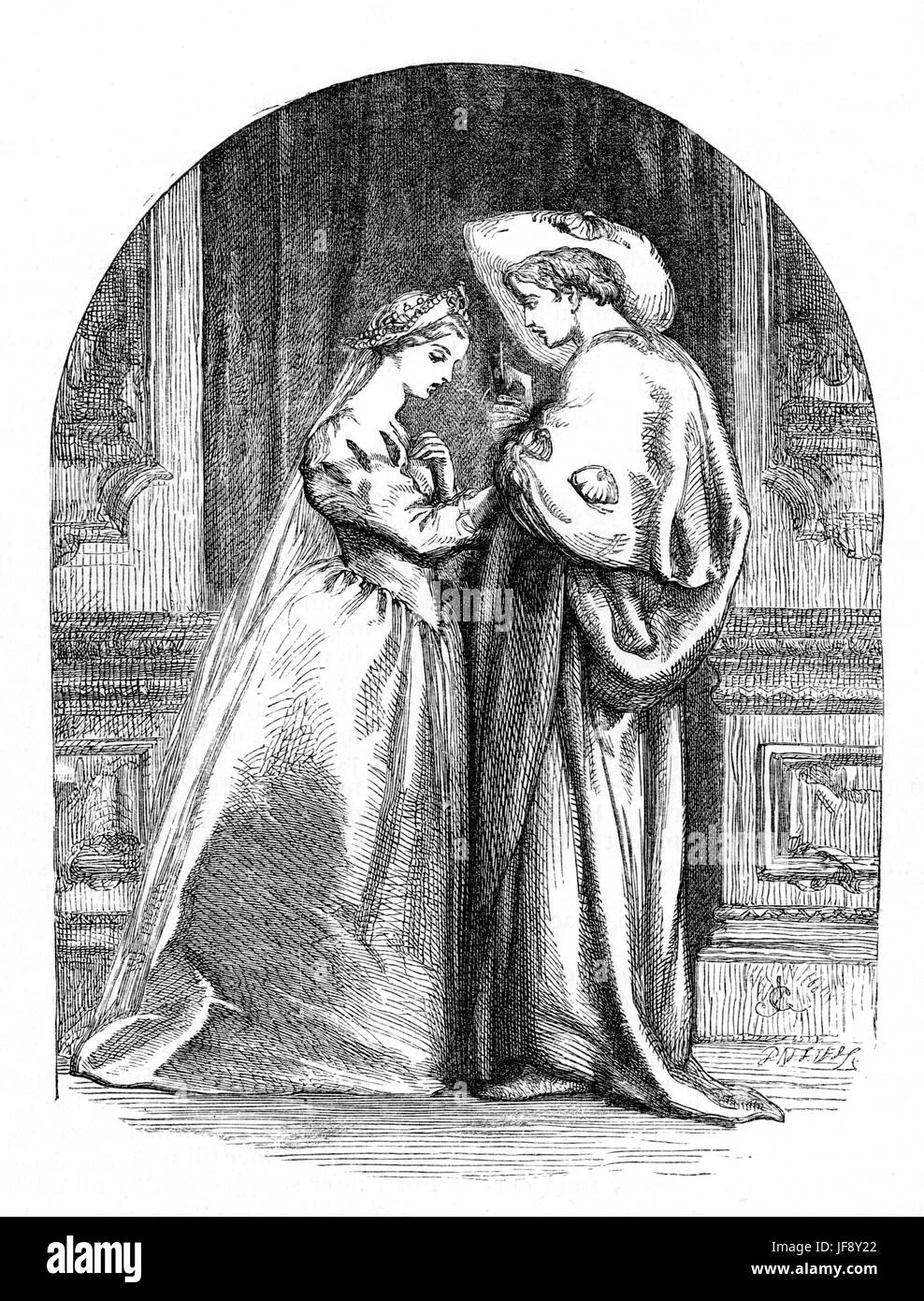 Romeo and Juliet, play by William Shakespeare (26 April 1564 – 23 April 1616). Illustration by Sir John Gilbert - Stock Image