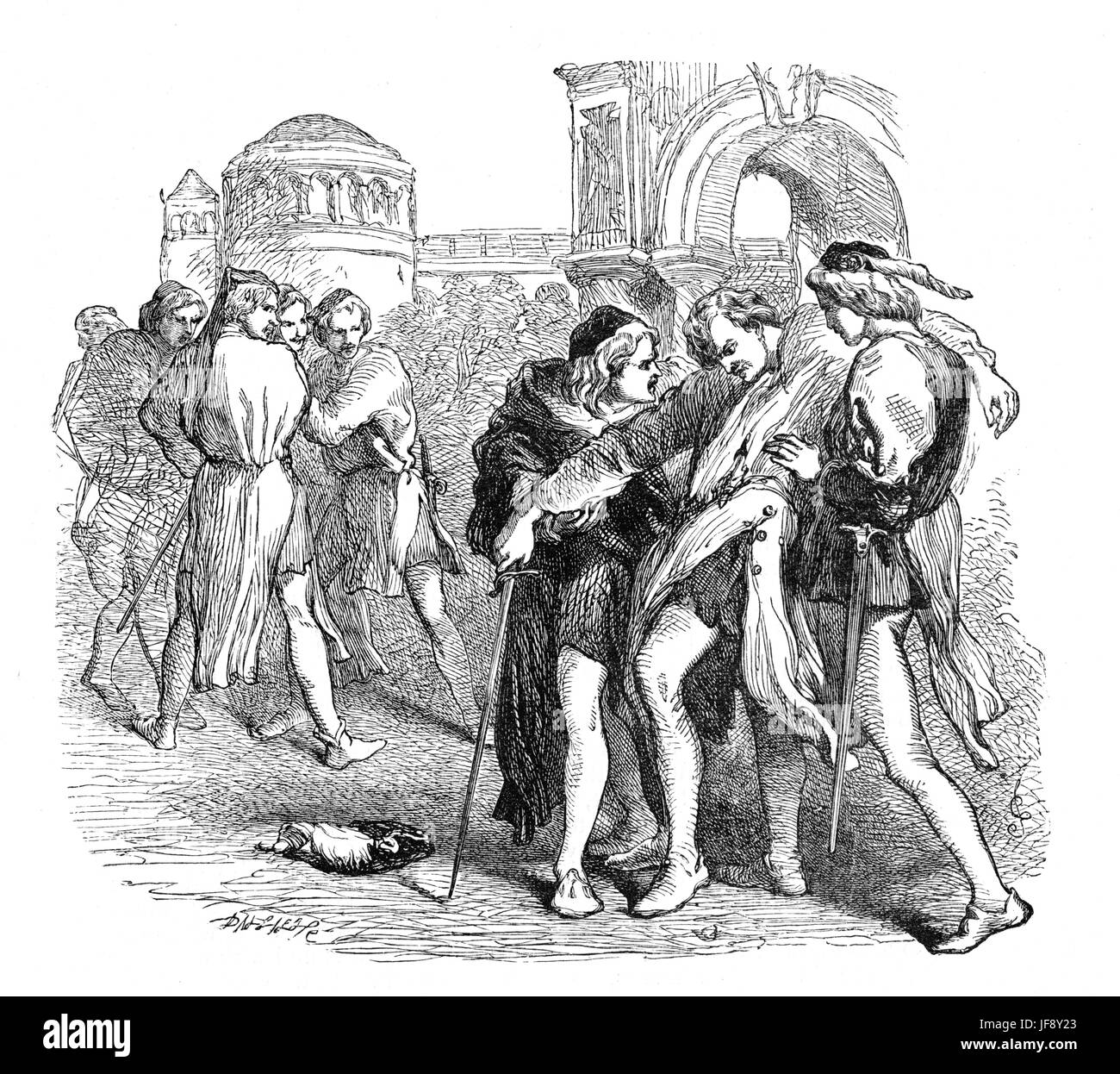 Romeo and Juliet, play by William Shakespeare (26 April 1564 – 23 April 1616). Act 3 scene 1, Mercutio is killed - Stock Image