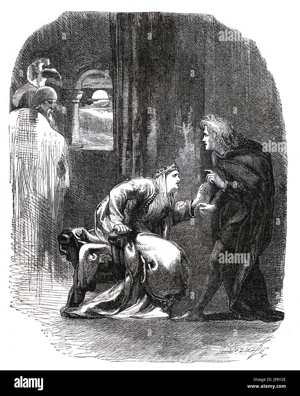Hamlet, play by William Shakespeare (26 April 1564 – 23 April 1616). Act 3 scene 3, Hamlet, Queen Gertrude and the - Stock Image