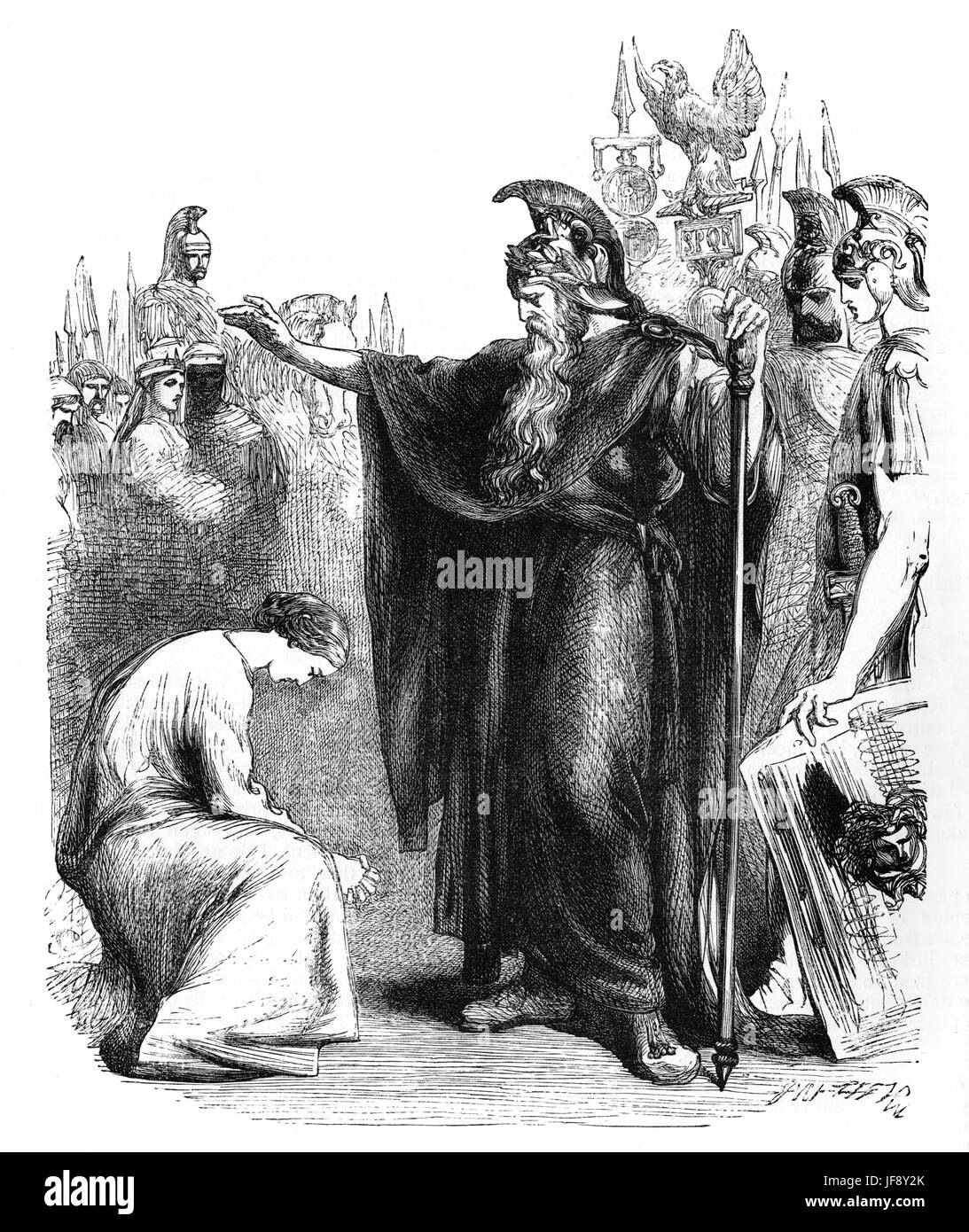 Titus Andronicus, play by William Shakespeare (26 April 1564 – 23 April 1616). Act 1 scene 2, Lavinia kneels before - Stock Image