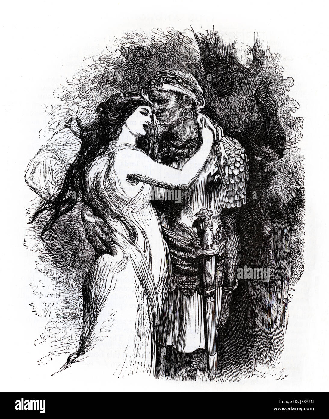 Titus Andronicus, play by William Shakespeare (26 April 1564 – 23 April 1616). Act 2 scene 2, Aaron and Tamora in - Stock Image