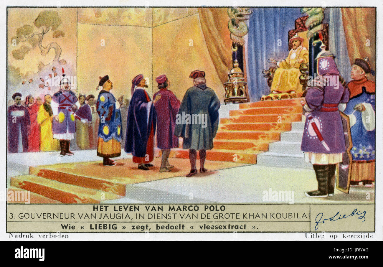 Marco Polo (1254 – 8 January 1324), Venetian explorer, as a government  official to Kublai Khan. Liebig collectors card, 1941