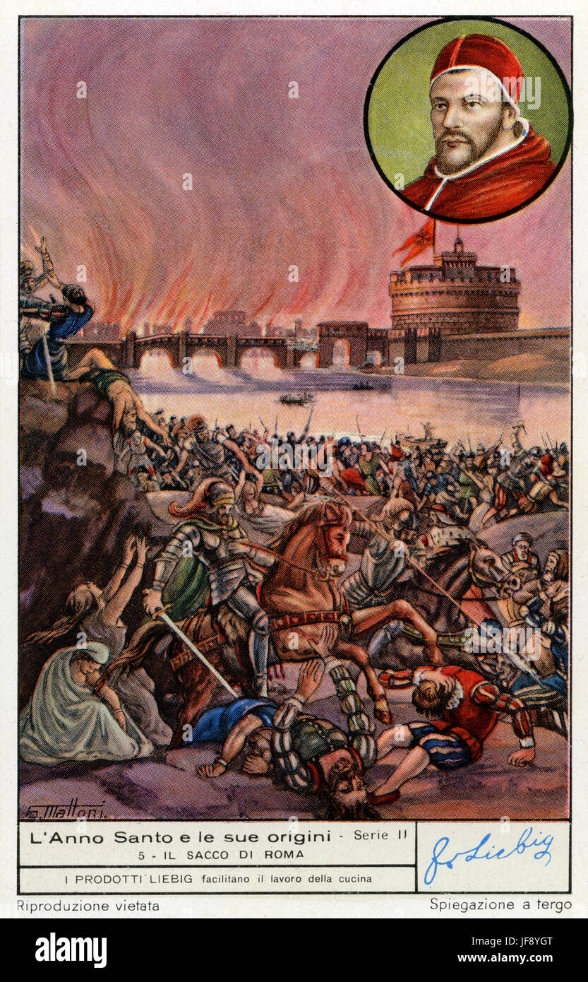 The Catholic holy year / jubilee and its origin. Sack of Rome, 1527. Liebig  collectors card, 1949