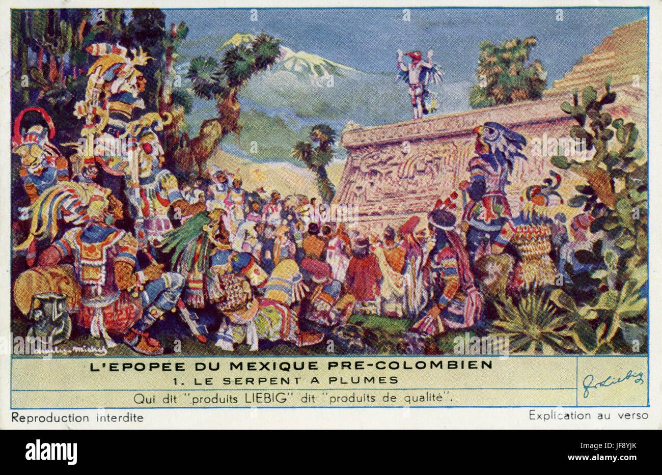 Quetzalcoatl (feathered serpent), Aztec / Toltec god. Pre-Colombian Mexican culture. Liebig collectors card, 1950 - Stock Image