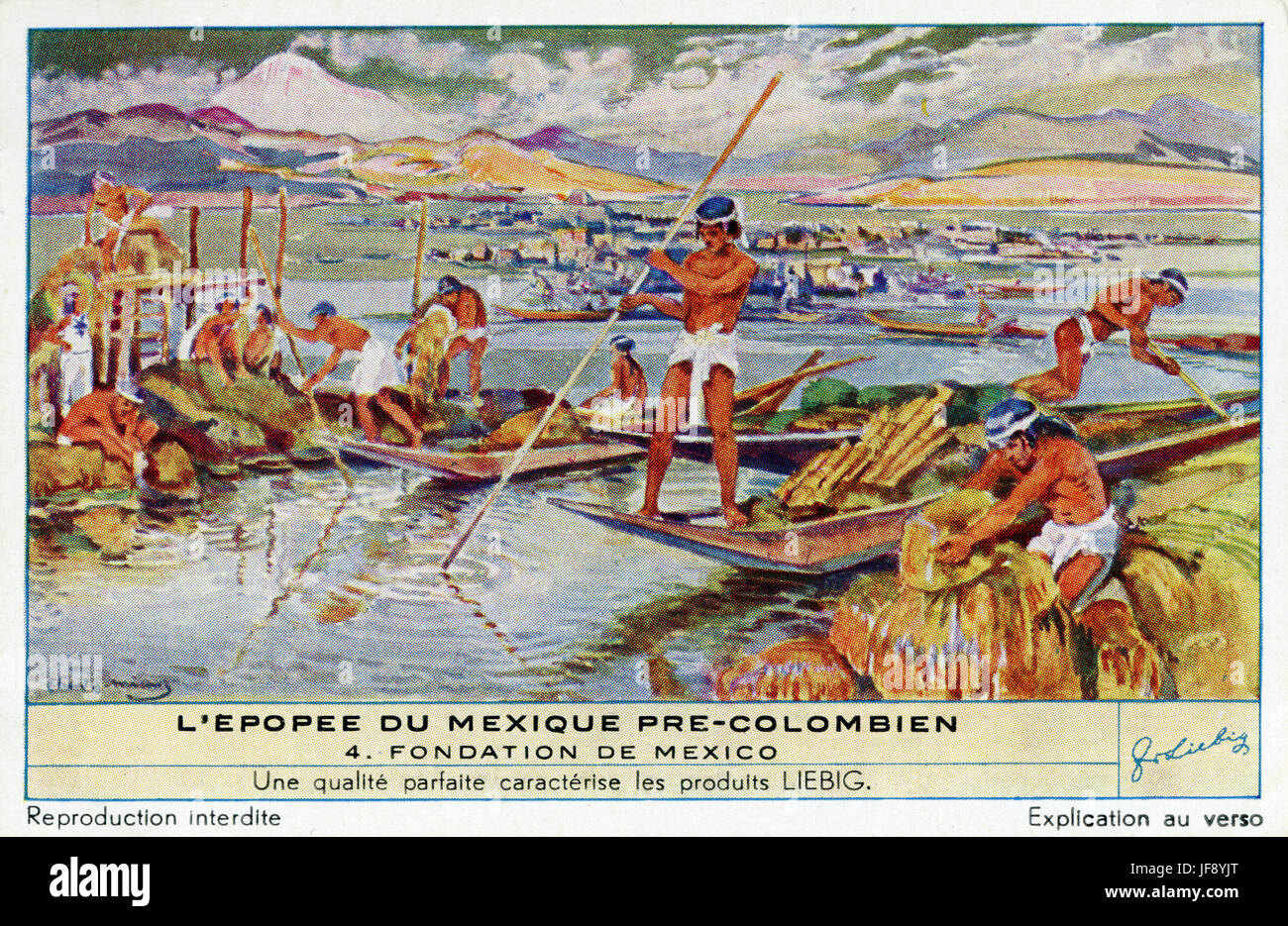 Founding of the Aztec city of Tenochtitlan, to become Mexico City. Pre-Colombian Mexican culture. Liebig collectors - Stock Image