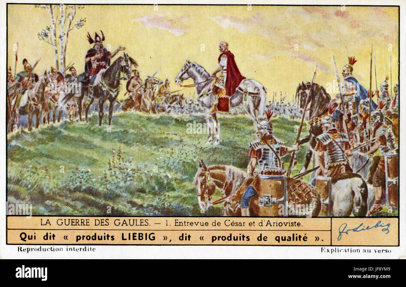 Parlay between Julius Caesar and Ariovistus. Gallic wars (58 BC to 50 Stock  Photo - Alamy