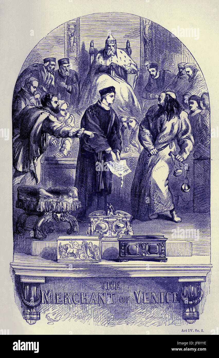 Merchant of Venice, play William Shakespeare (1564 – 1616). Title page illustration by John Gilbert (1817 - 1897). - Stock Image