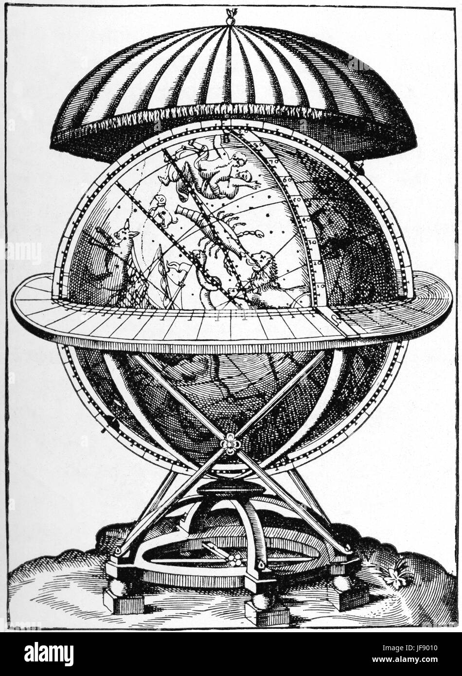 Thycho Brahe made celestial globe in 1580s.  About 1.6 meter in radius,took over 10 years to make.    Most of the - Stock Image